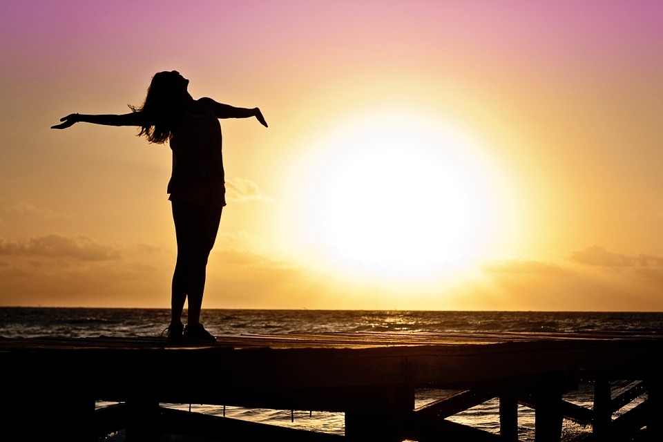 Girl Freedom Happy Sun Silhouette Sunrise